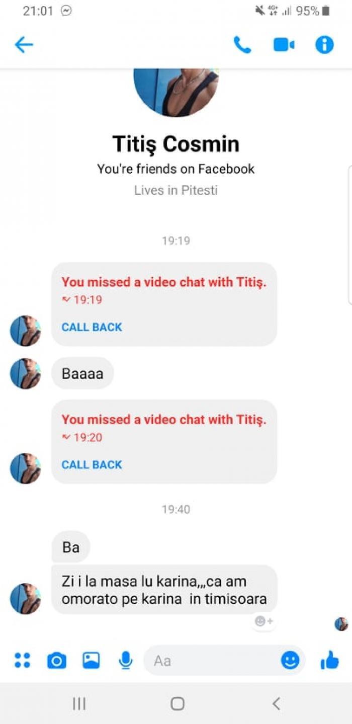 Cosmin Titiş a anunţat-o pe Facebook pe mama Karinei că i-a ucis fiica, imediat după crima de la Timişoara