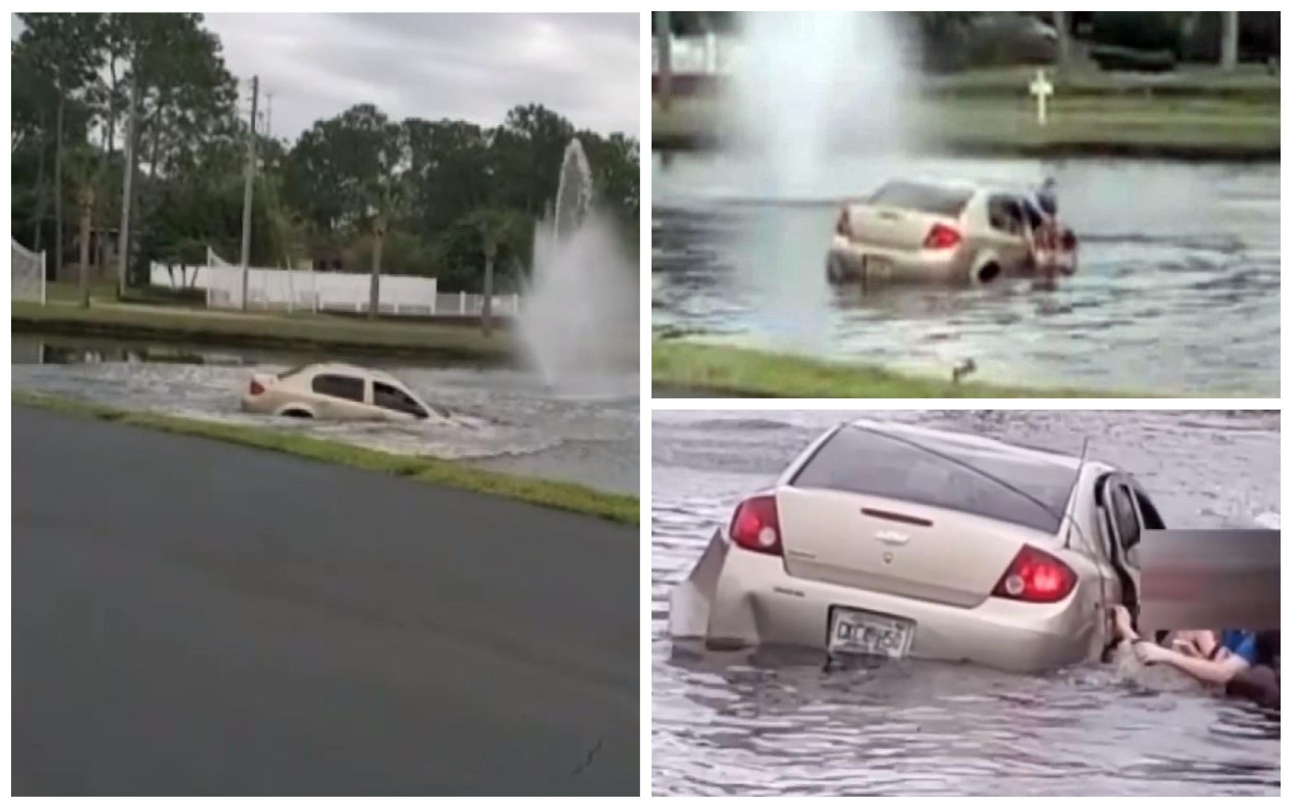 """Momentul terifiant în care un tată plonjează cu mașina în lac, cu doi copii care țipă în interior. """"Ești bolnav, omule!"""""""