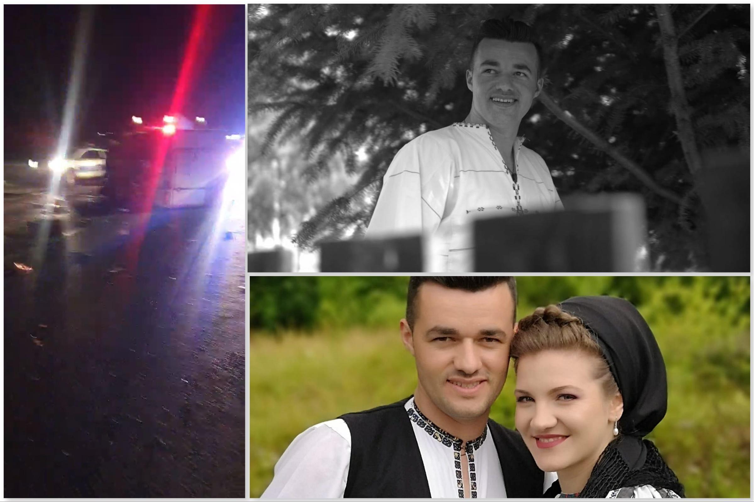 Colaj foto: Dumitru Stroie, alături de soția sa (foto jos). Mașina în urma impactului (foto stânga)