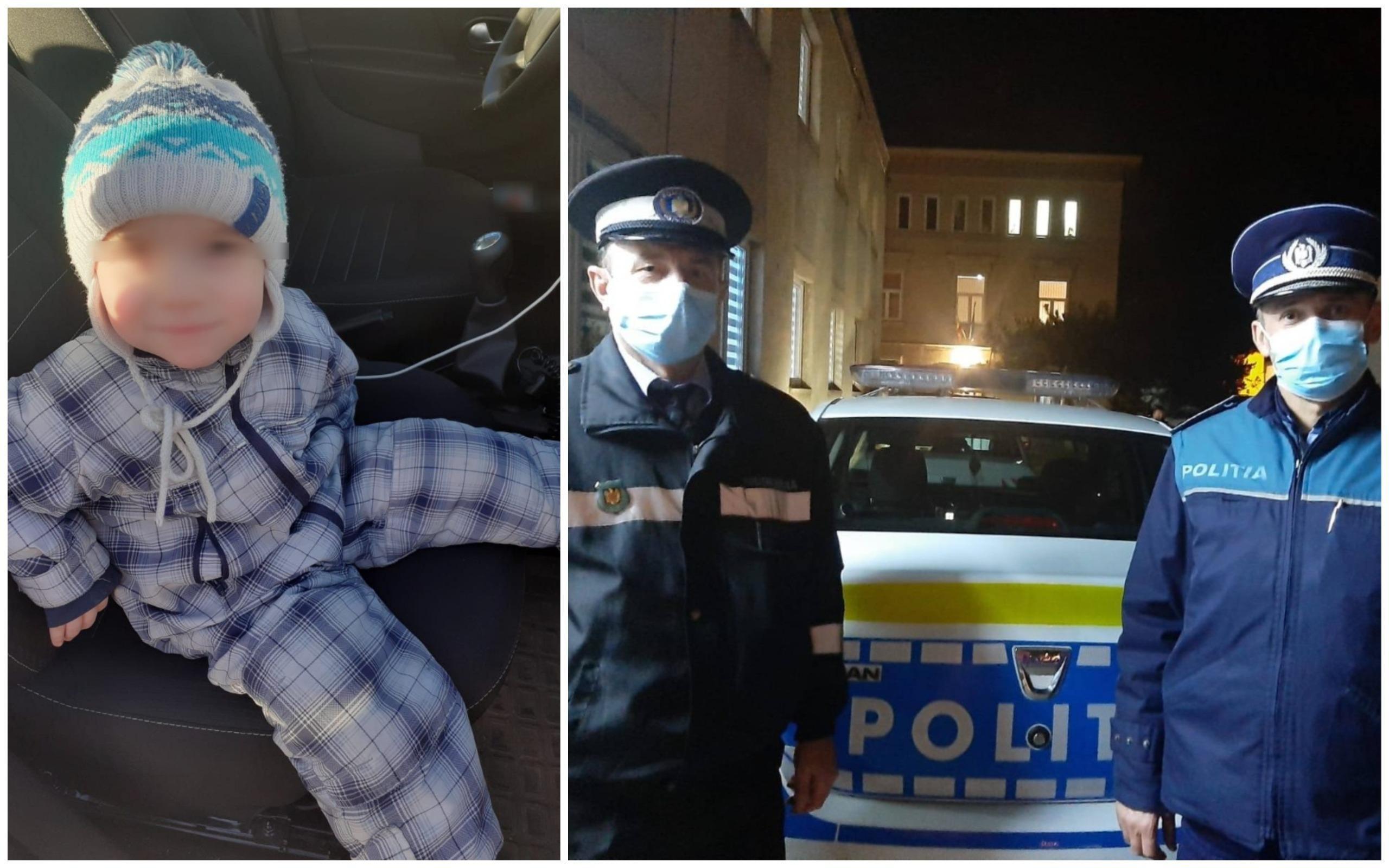 Copil de câțiva ani, găsit rătăcind pe stradă de doi polițiști din Târgu-Mureș