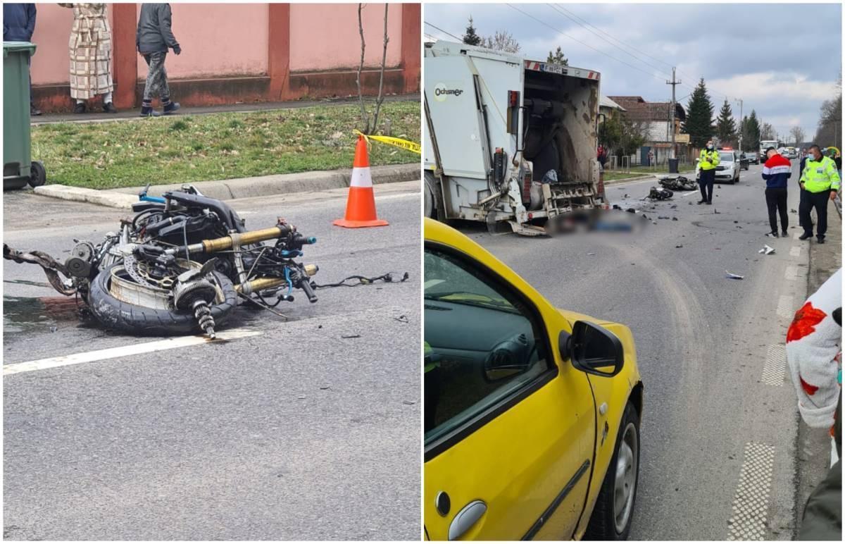 Motociclist mort pe loc la Cernica, ucis de maşina de gunoi. Şoferul a trecut şi peste victimă