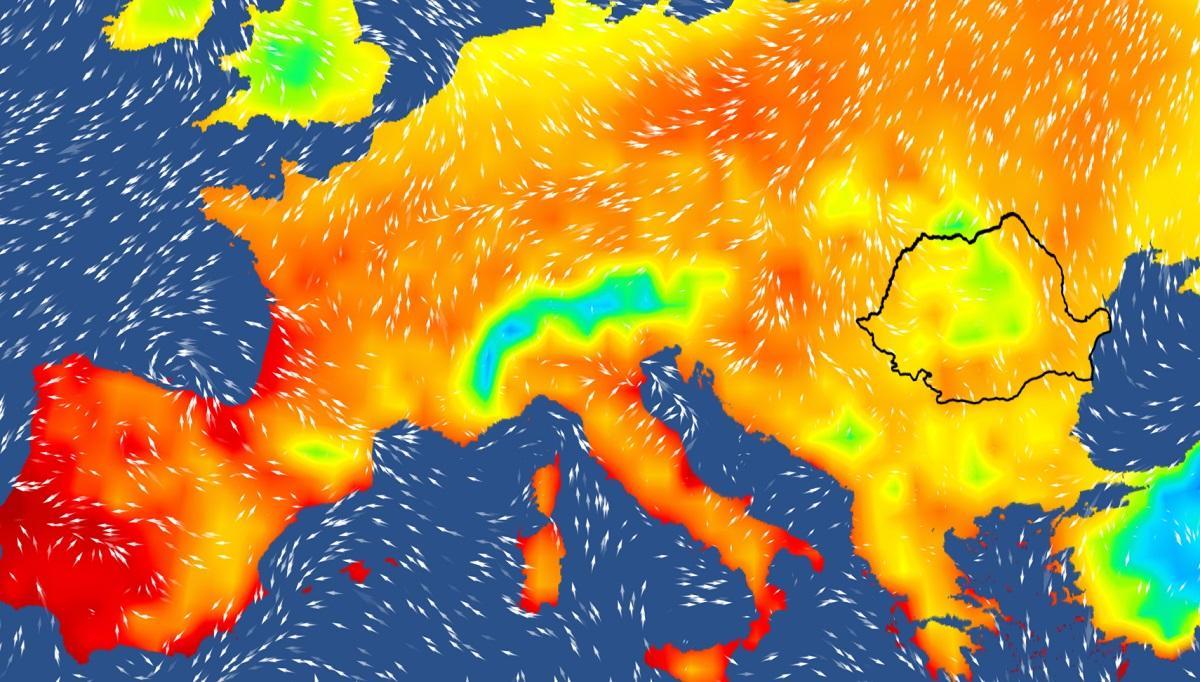 Harta temperaturilor în Europa