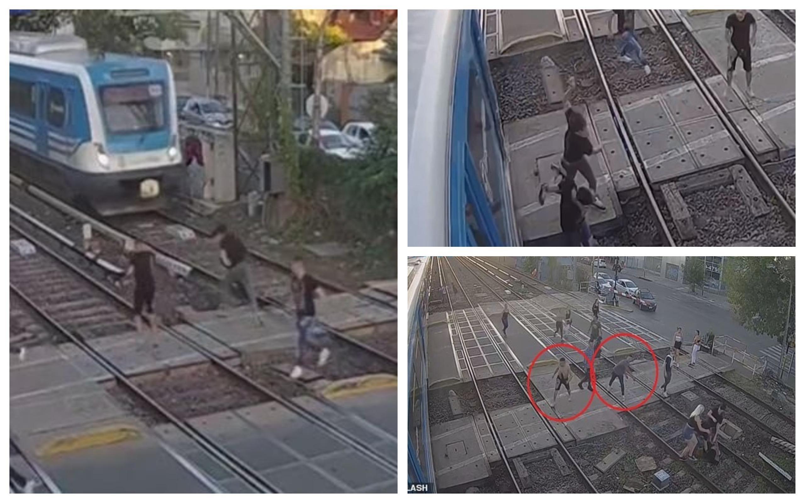 Răfuială între interlopi pe șinele de tren, în Argentina. Un tren evită la limită doi dintre bătăuși