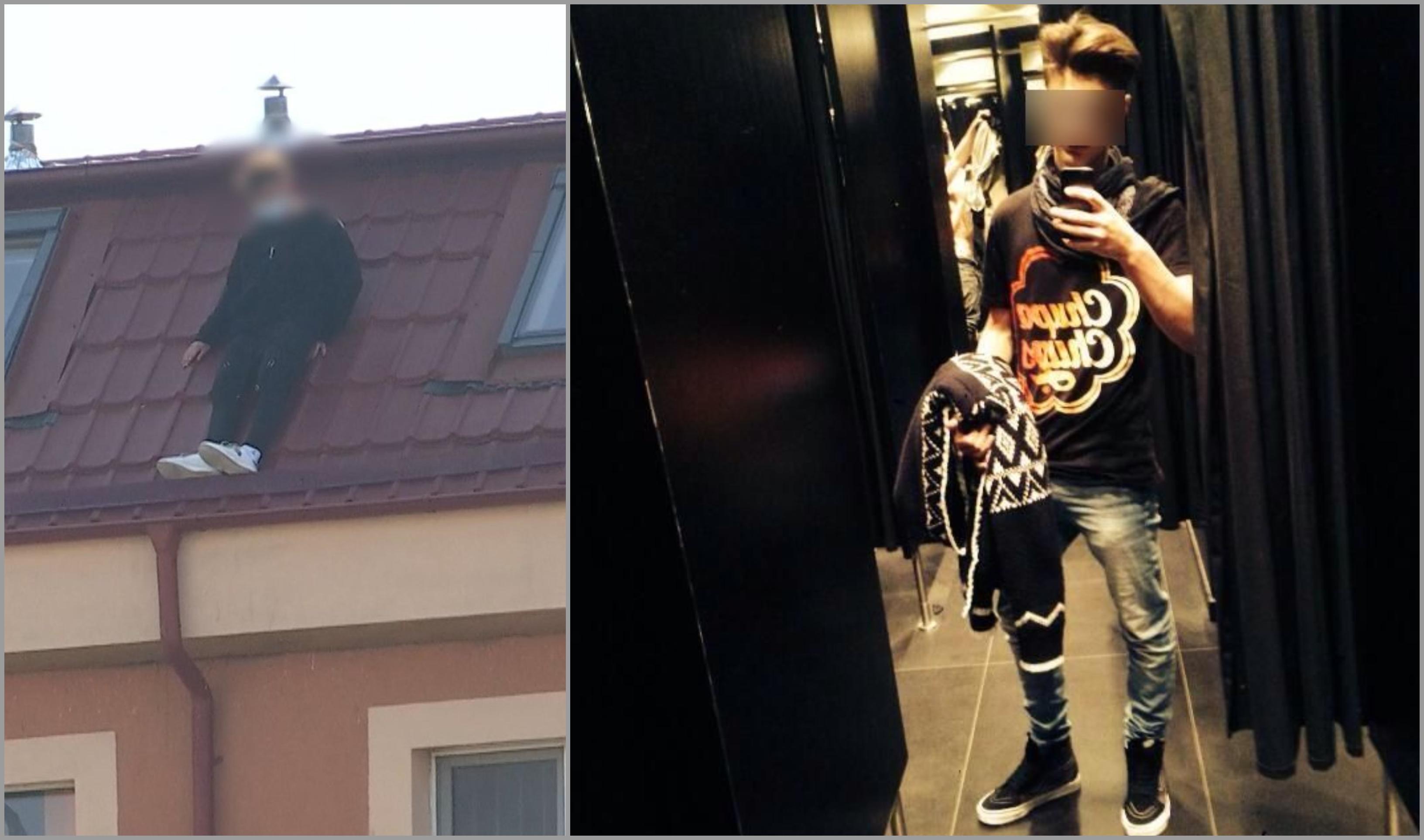Alexandru în momentul în care ameninţa că se aruncă de pe o clădire din Bucureşti, colaj cu un selfie dintr-o cabină de probă