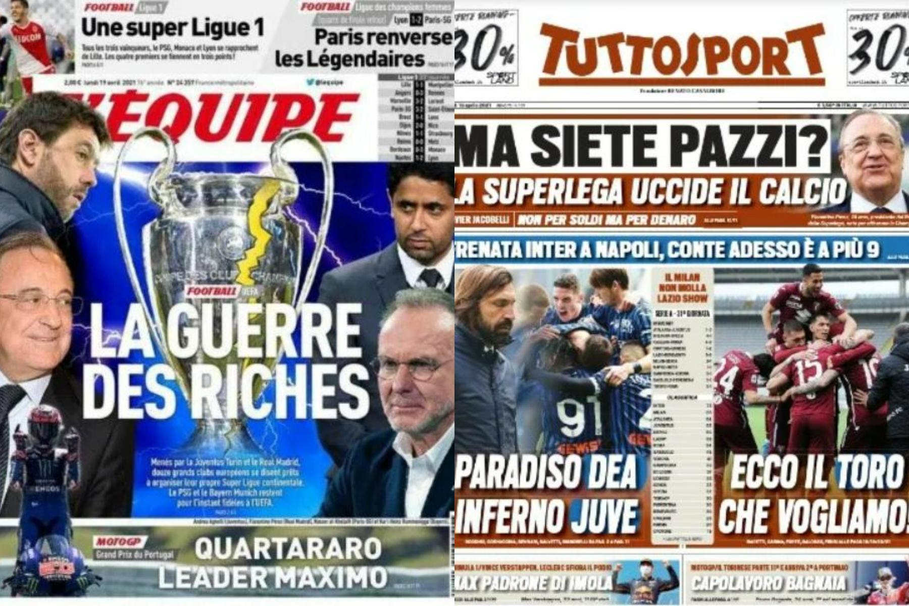 """""""Războiul bogaţilor"""" şi """"Sunteţi nebuni? Ucide fotbalul"""" Ce scrie presa despre Super Liga Europeană"""