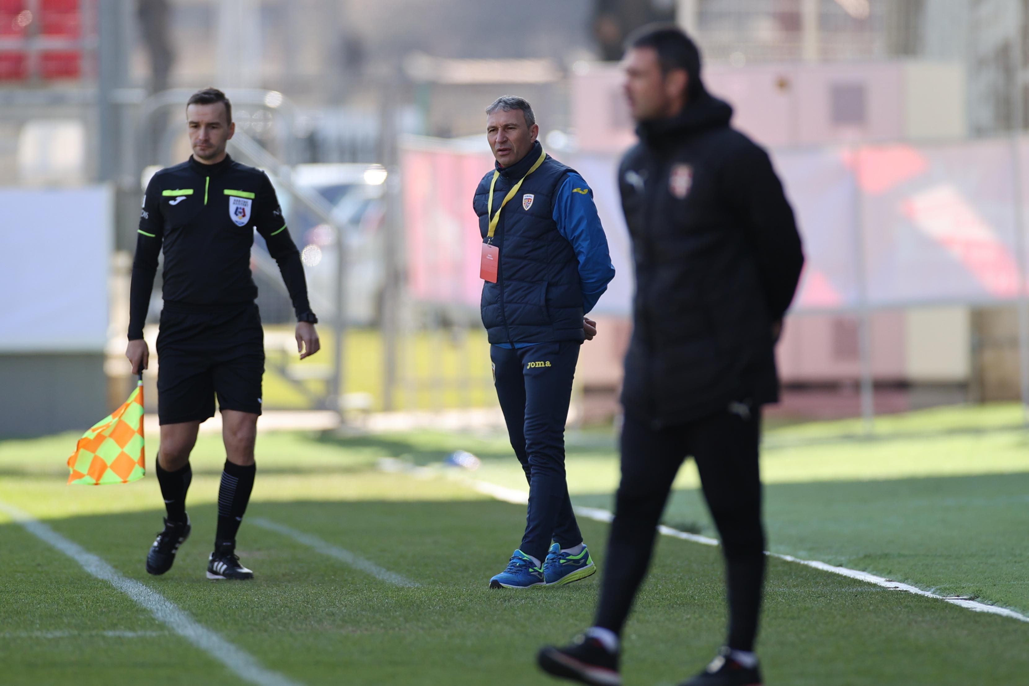 Daniel Oprescu in meciul amical de fotbal dintre Romania U19 si Serbia U19, desfasurat fara spectatori pe Stadionul Francisc Neuman din Arad, miercuri 10 martie 2021