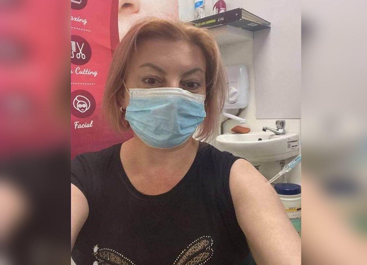 Mariana Durlesteanu s-a fotografiat intr-un centru de vaccinare din Republica Moldova