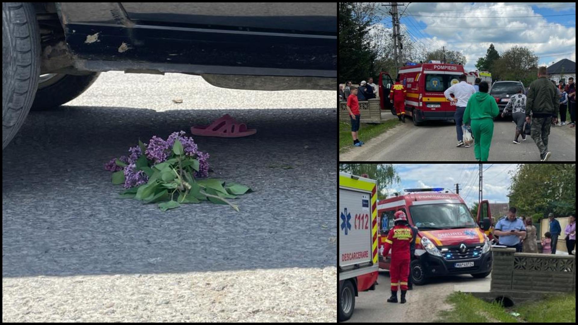 Fetița de 5 ani lovită de mașină la Mitocu Dragomirnei a murit. Florile de liliac și papucul copilei, sub autoturismul implicat în tragedie