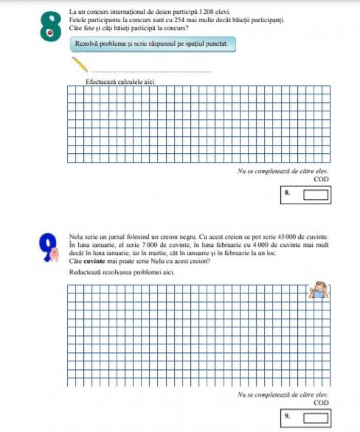 Evaluare Naţională clasa a IV-a. Elevii susţin miercuri proba la matematică. Modele de subiecte