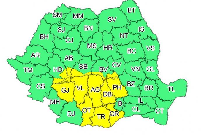 Alertă de ploi, grindină și vijelii în România. 12 județe, sub cod galben de vreme severă până joi dimineaţă