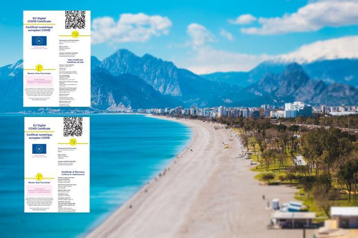 Colaj foto cu un peisaj la mare şi certificatele digitale UE privind Covid