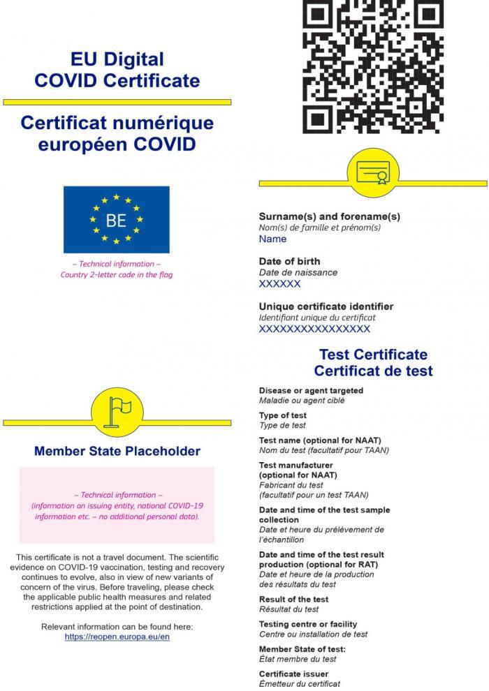 Certificat digital privind COVID - varianta de test