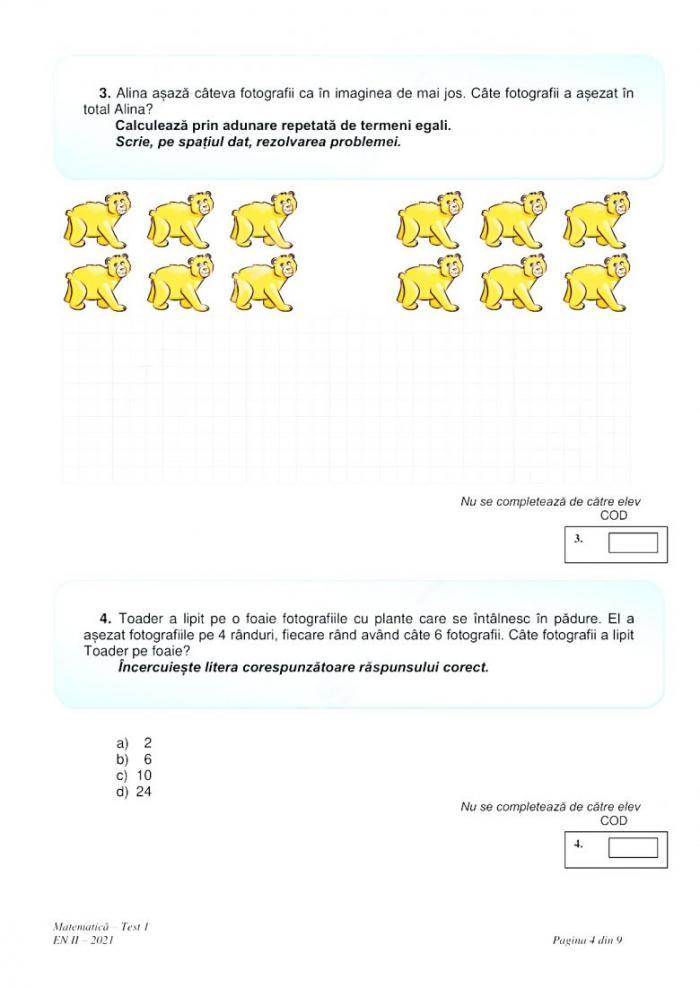 Evaluare Națională 2021. Subiectele date la Matematică, la clasa a II-a, au fost publicate de Ministerul Educaţiei
