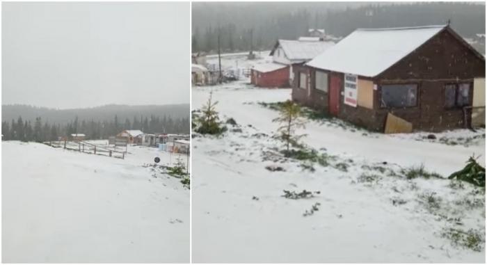 Vara vine cu ploi torenţiale şi zăpadă. În staţiuneaMunţii Băişoarei din Cluja nins ca în plină iarnă