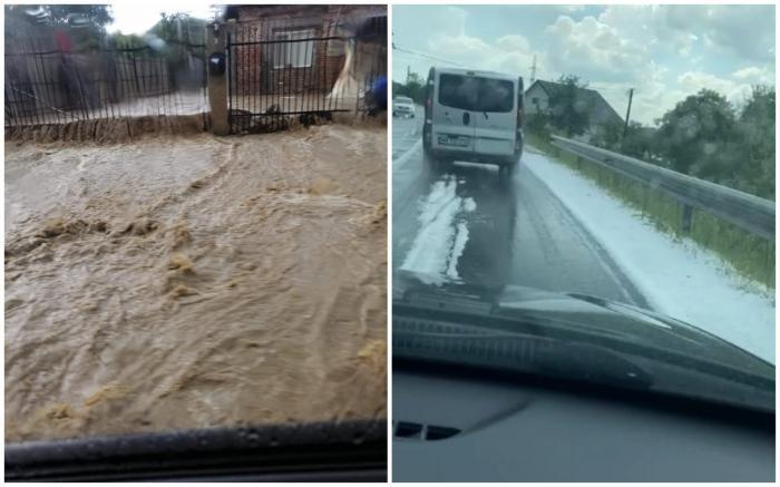 Vreme extremă în țară. Gospodării inundate în Dâmbovița, covor de gheață pe o șosea din Maramureș