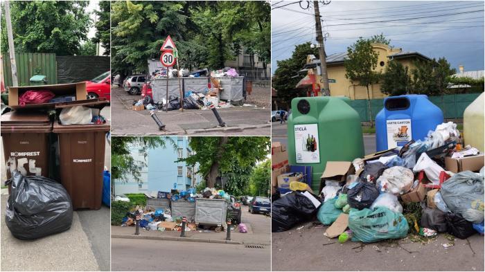 Colaj cu imagini din sectorul 1 unde gunoiul nu a mai fost ridicat de pe străzi