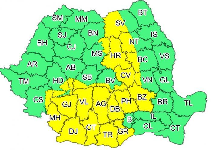 Alertă de ploi, grindină și vijelii în România. 22 județe, sub cod galben de vreme severă în următoarele ore