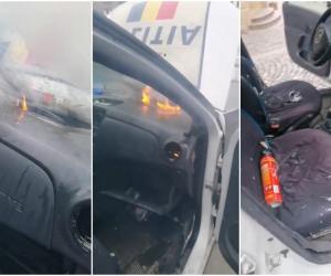 O maşină de Poliţie a luat foc, pe stradă, în Bucureşti. Poliţiştii, plin de nervi:
