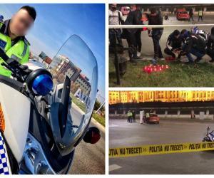 Ionuț, polițistul mort în accidentul de la Palatul Parlamentului, avea 30 de ani. Colegii au venit să-i aprindă lumânări