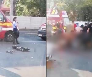 Un tânăr pe trotinetă, șicanat în trafic de un motociclist, a intrat pe contrasens și a murit călcat de o mașină. A aruncat cu casca în el