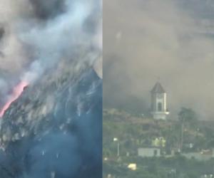 Momente dramatice din mijlocul Infernului din Canare: turla bisericii din La Palma, înghiţită de şuvoaiele necruţătoare de lavă