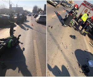 Motociclist de 24 ani spulberat, în Bucureşti, după ce un şofer nu i-a acordat prioritate