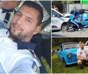 Cornel, un tânăr poliţist din Deva, a murit într-un Trabant strivit, la Şoimuş. Agentul a intrat cu maşina pe contrasens